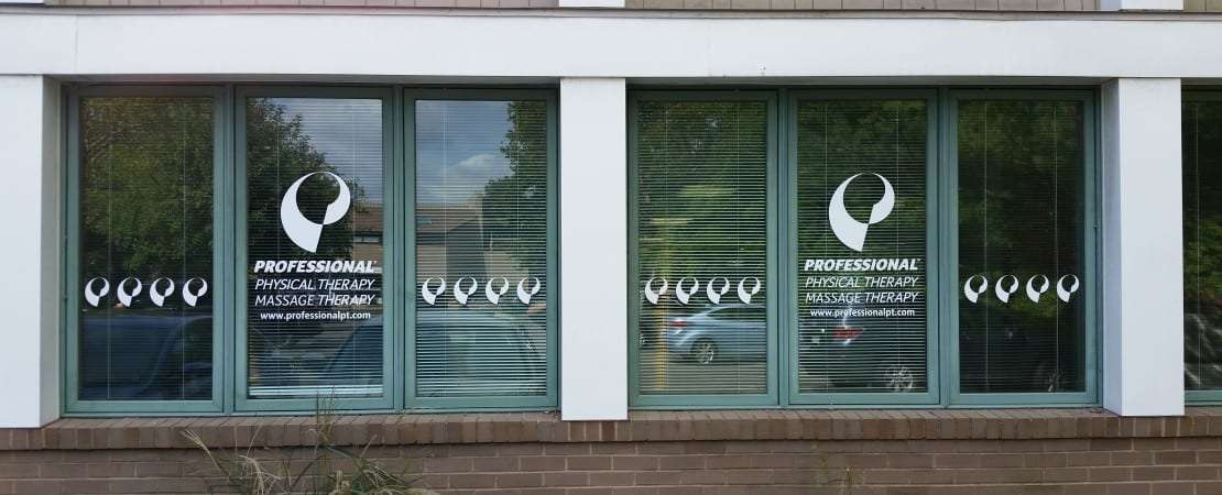 Here is the front window to our physical therapy clinic in Darien, Connecticut.