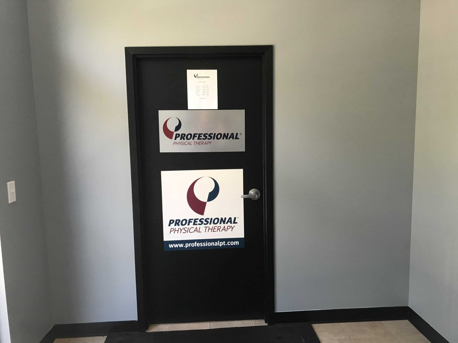 Here is an image of the door to our physical therapy clinic in Ridgefield, Connecticut.