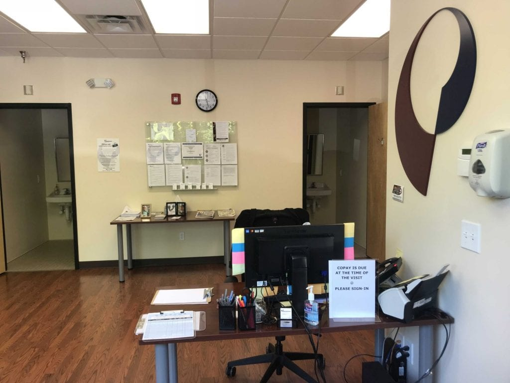 Here is an image of the front desk at our physical therapy clinic in Ridgefield, Connecticut.