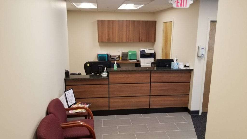 Here is the front desk at our physical therapy clinic in Stamford, Connecticut.