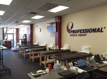 Here is an image of five stretch beds along the wall in our training room at our physical therapy clinic in Nutley, New Jersey at Midtown.