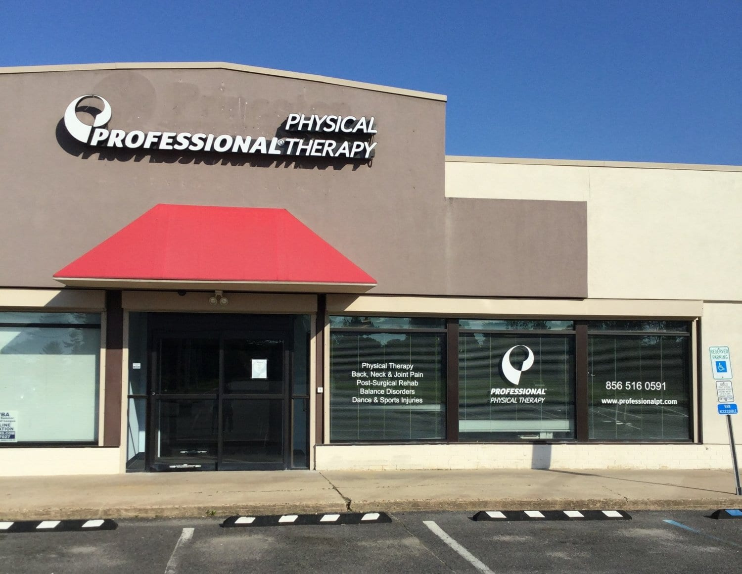 Here is the front entrance to our physical therapy clinic in Sicklerville, New Jersey.
