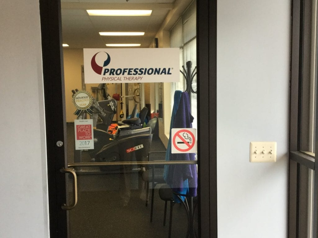 Here is an image of the door to our physical therapy clinic in Sicklerville, New Jersey.