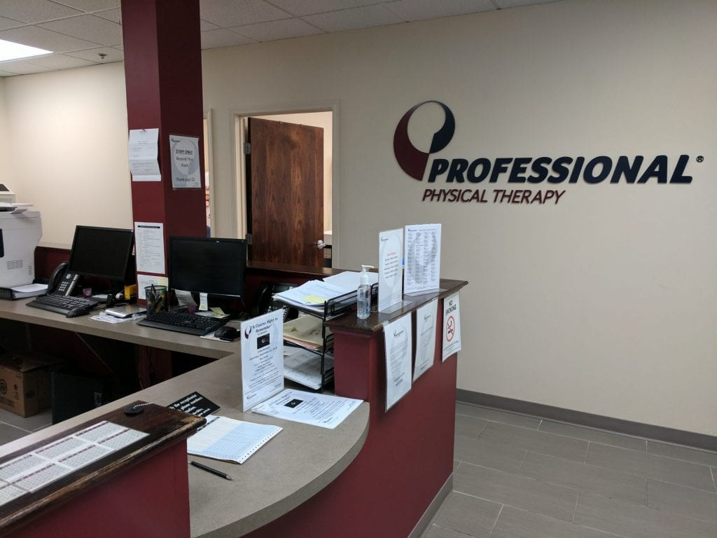 An image of the receptionist desk at our physical therapy clinic in Haskell, New Jersey.