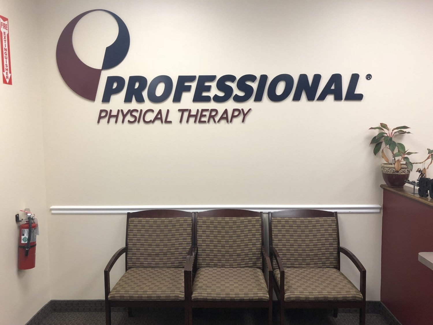 An image of the Professional Physical Therapy sign up on our wall in our waiting area at our clinic in Hazlet, New Jersey.