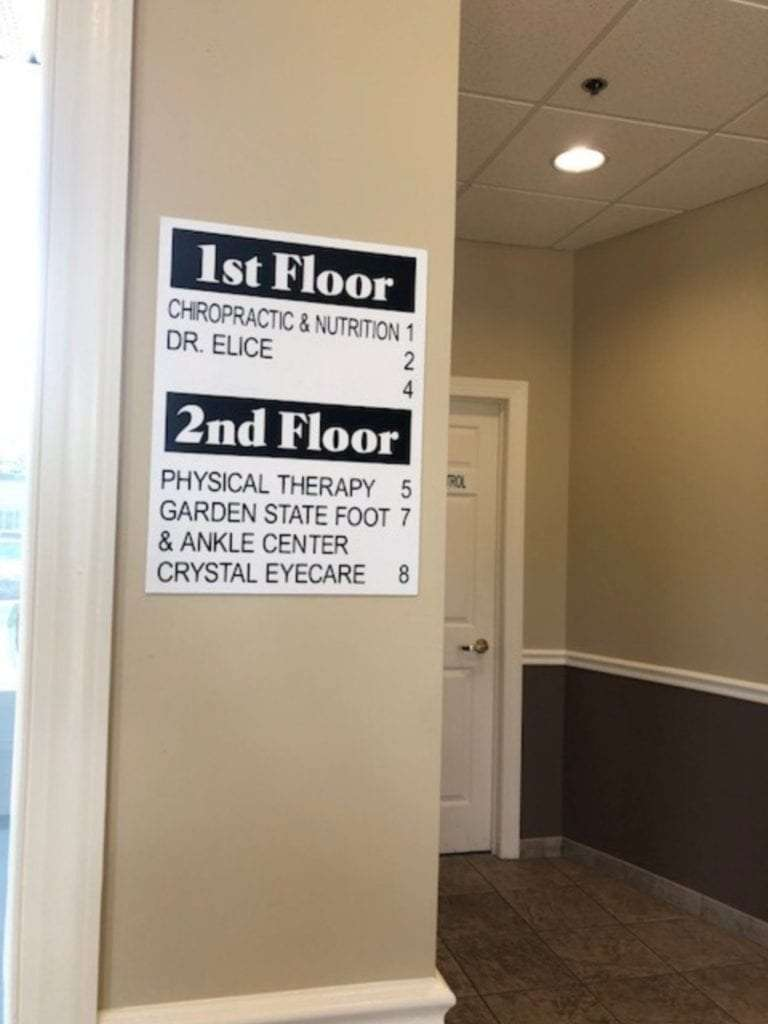 An image of a sign identifying which floor our physical therapy clinic is located on in Hazlet, New Jersey.