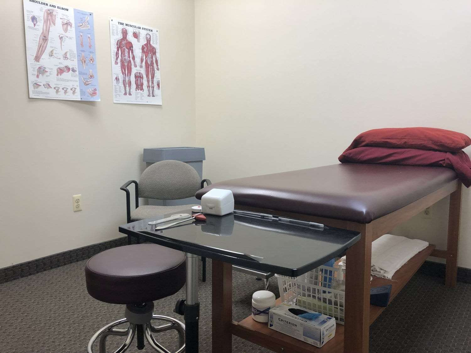 An image of a stretch bed ready to accept a patient at our physical therapy clinic in Hazlet, New Jersey.