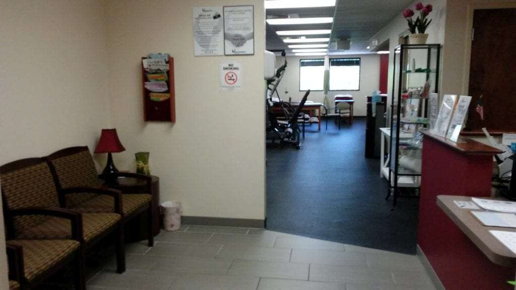 Here is an image of the patient waiting area at our physical therapy clinic in Newton, New Jersey.