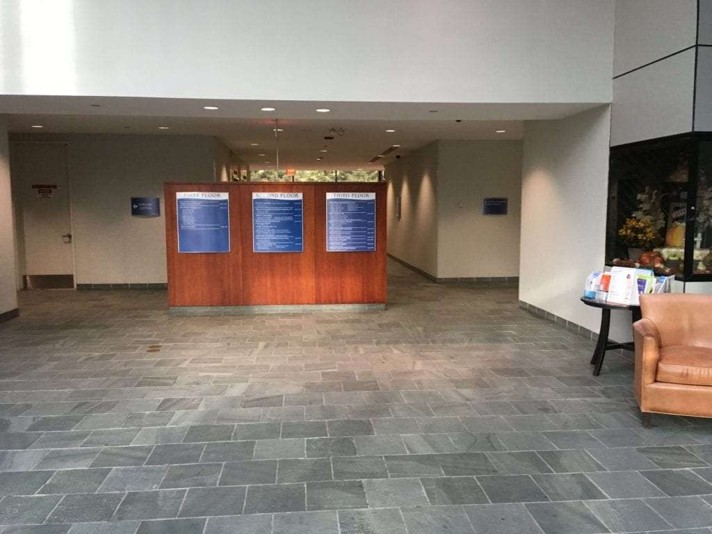 This is an image of the lobby of the building our physical therapy clinic is located in. The facility is in Oradell, New Jersey.