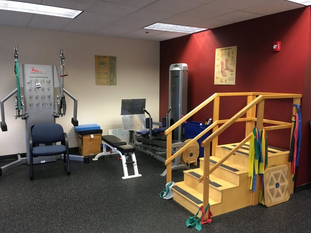This is an image of a set of wooden stairs used in physical therapy at our clinic in Oradell, New Jersey. Stairs are great for improving mobility.