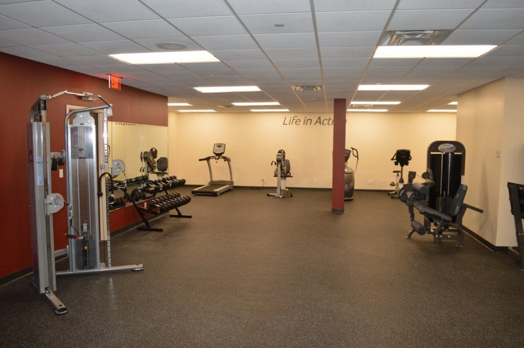 An image of the interior of our physical therapy clinic in Hauppauge, New York. There are weights, a wall mirror, and a treadmill in this photo.