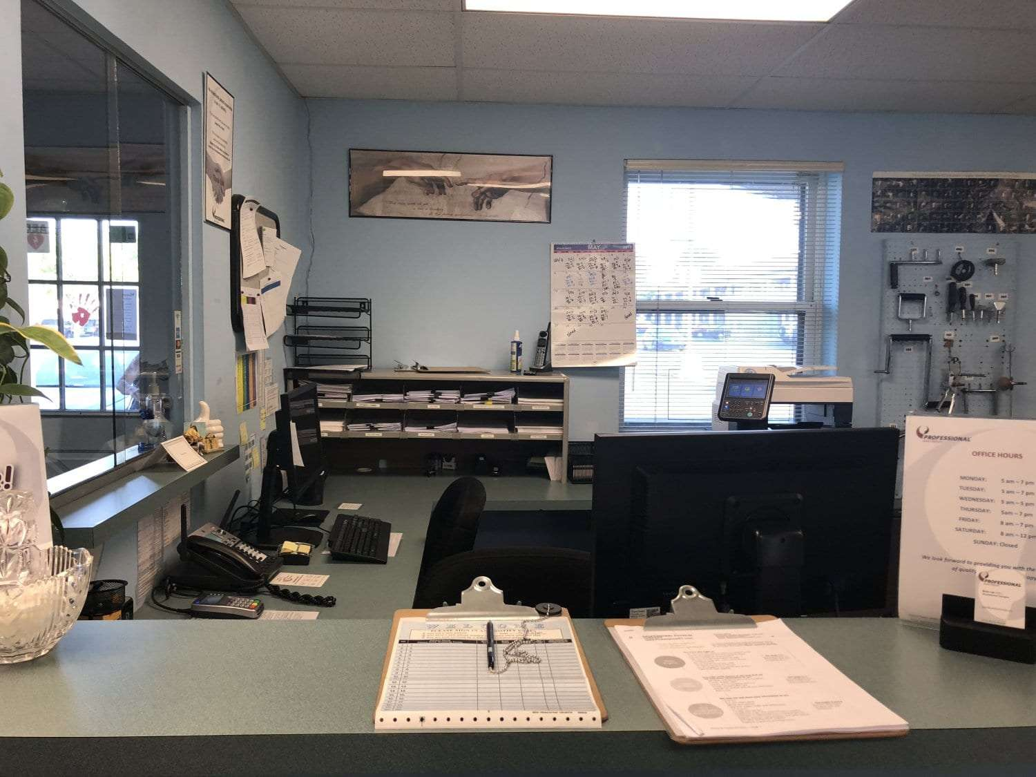 This is an image of our receptionist's desk at our physical therapy clinic in Union, New Jersey.