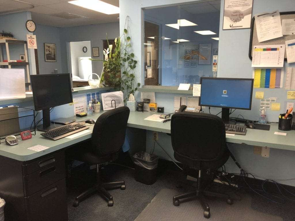 Here is an image of our receptionist's area at our physical therapy clinic in Union, New Jersey.