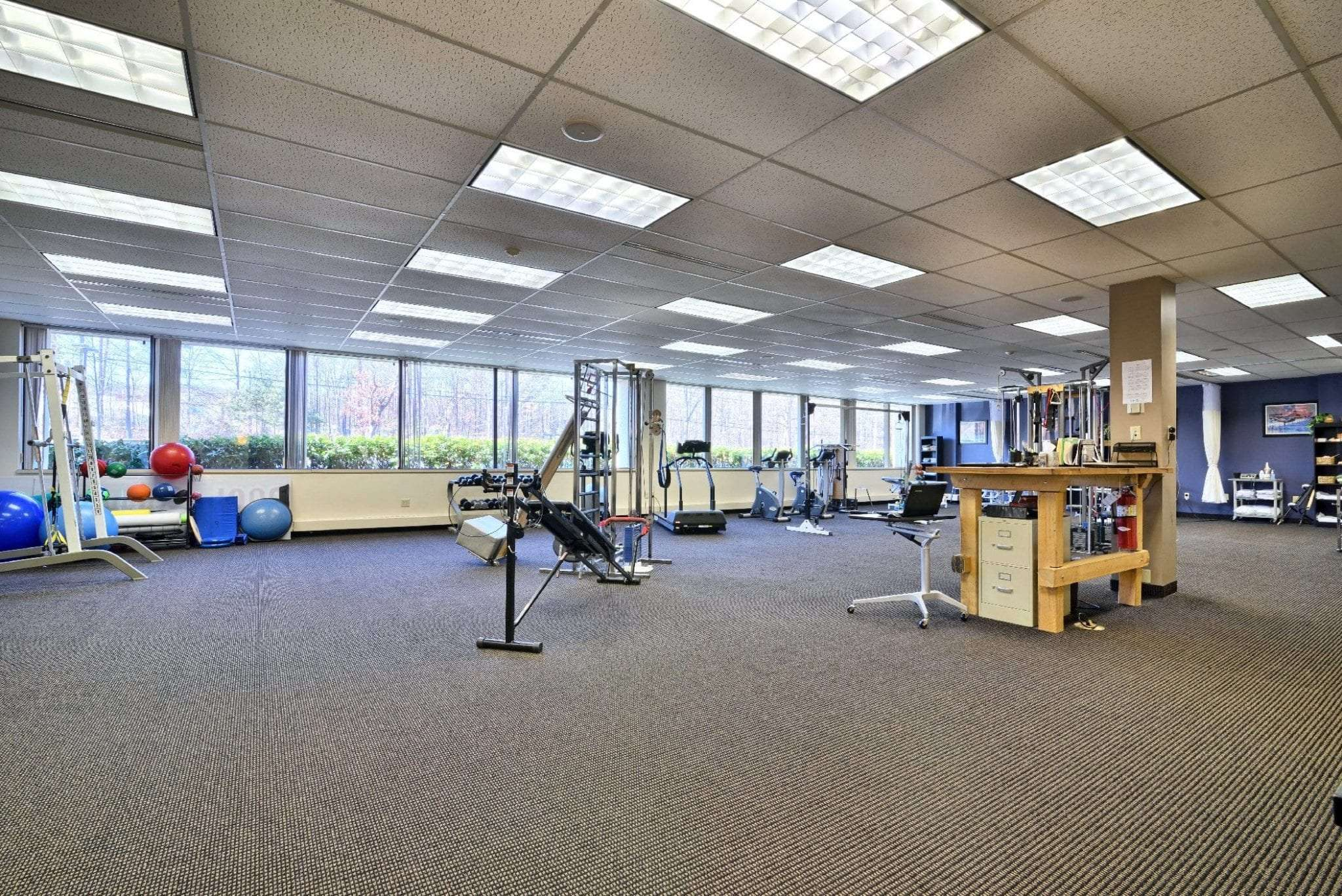 Here is an image of our carpeted interior of our physical therapy clinic in Farmington, Connecticut.