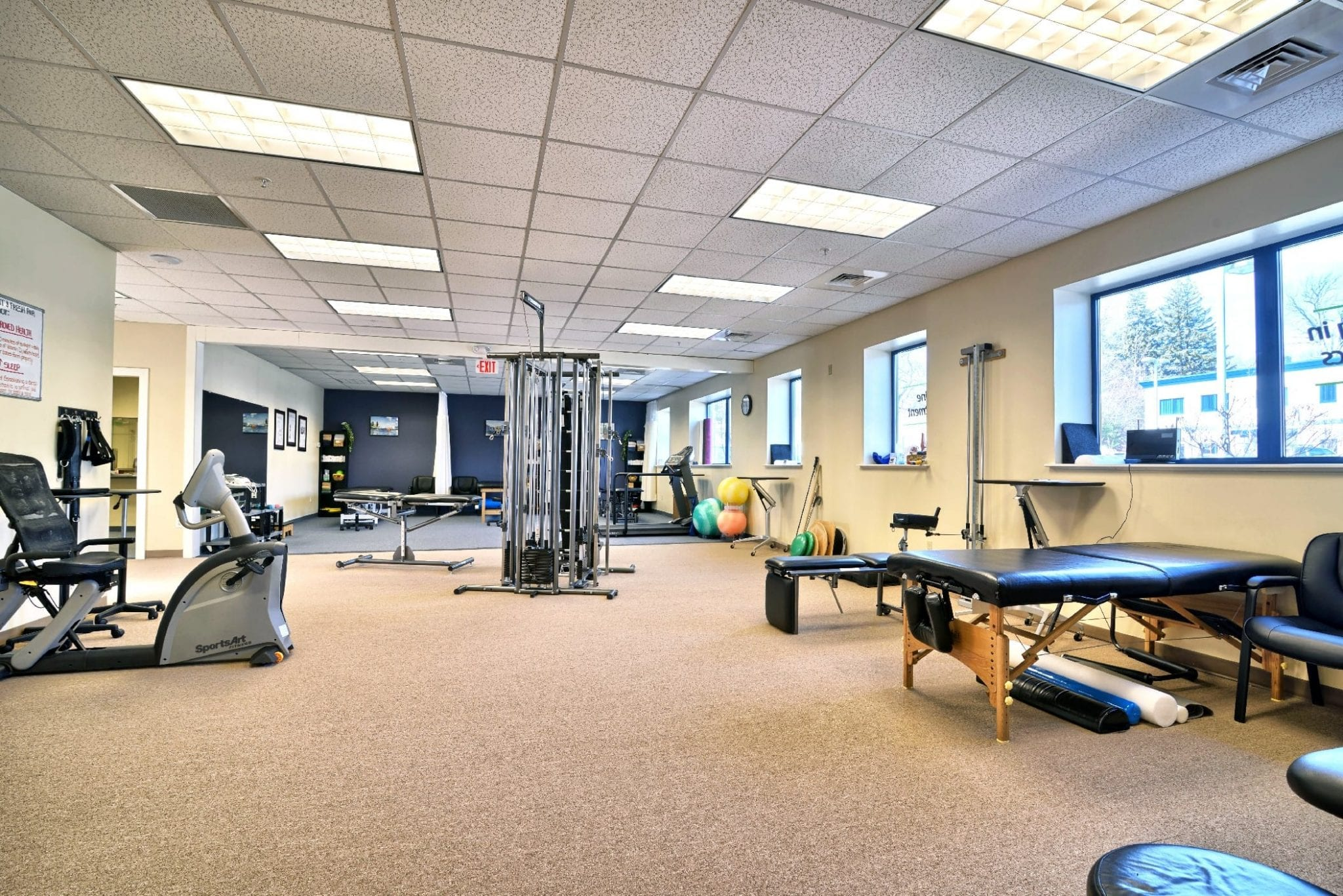 An image of the clean interior of our physical therapy clinic in Amesbury, Massachusetts.