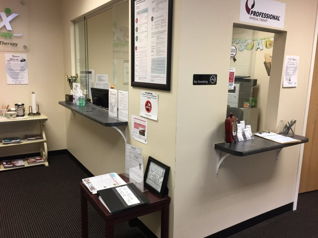 Here is a photo of the front desk at our physical therapy clinic in Amesbury, Massachusetts.