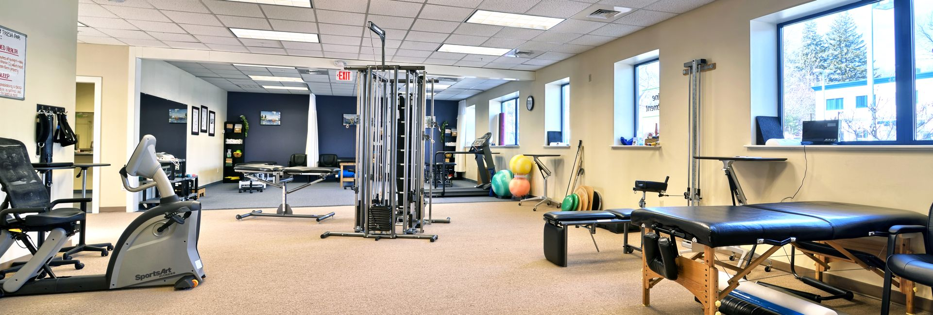 Interior of our physical therapy and sports medicine clinic in Amesbury, MA.