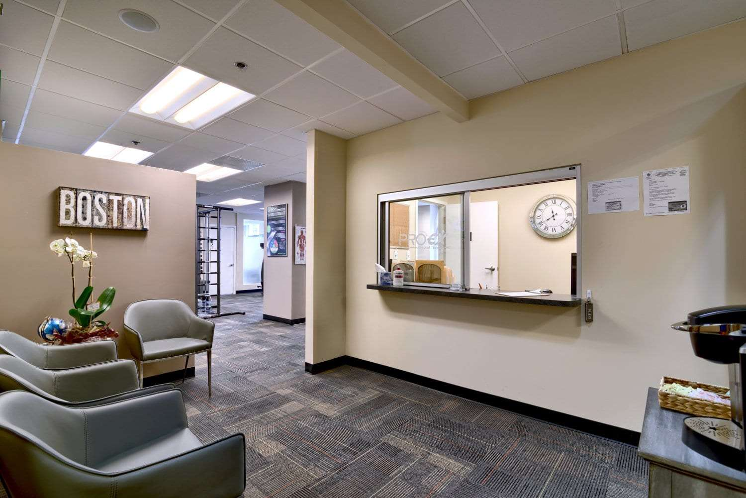 This is a photo of the patient waiting area at our physical therapy clinic in Boston, Massachusetts.