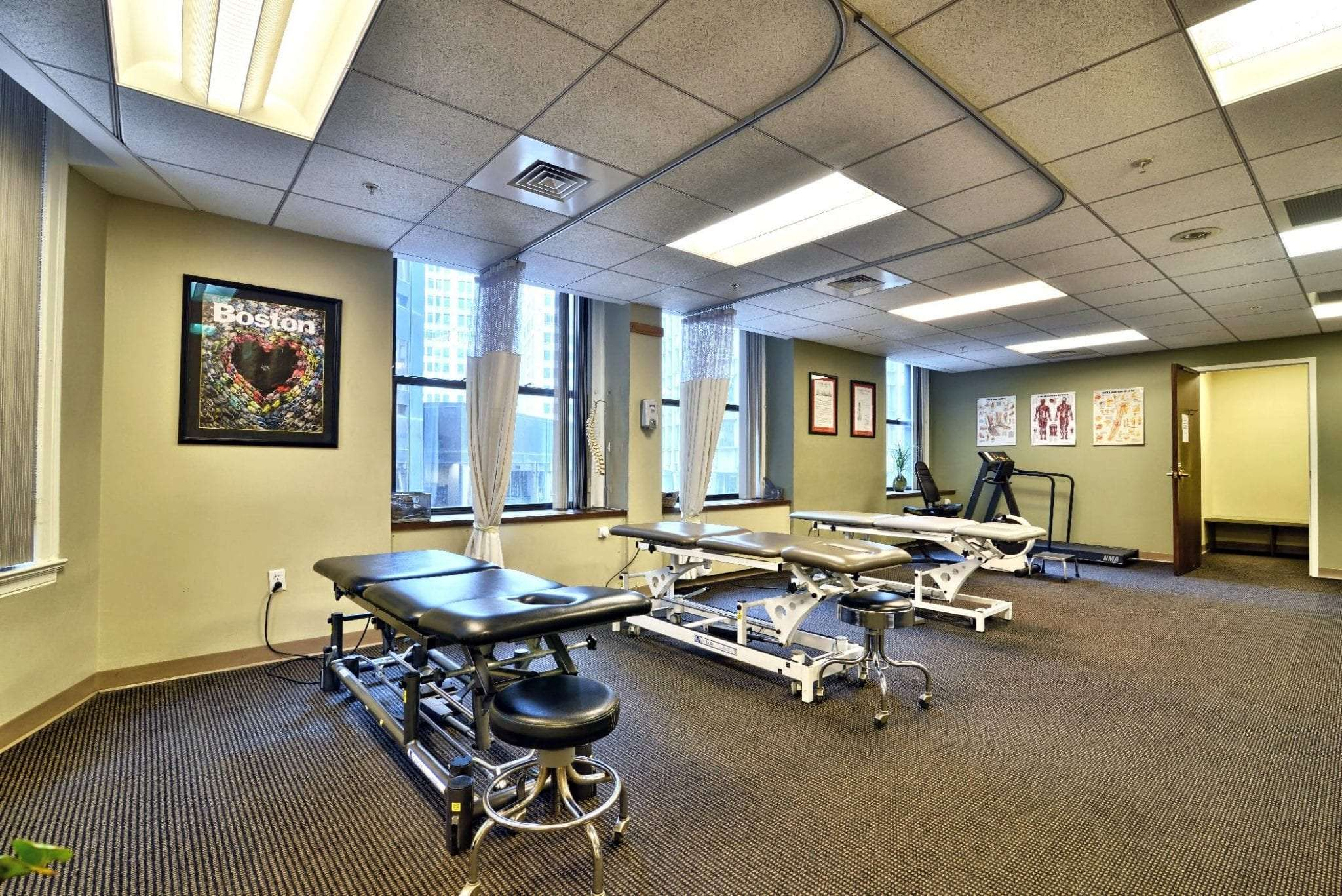 This photo shows three stretch beds at our physical therapy clinic in Boston, Massachusetts.
