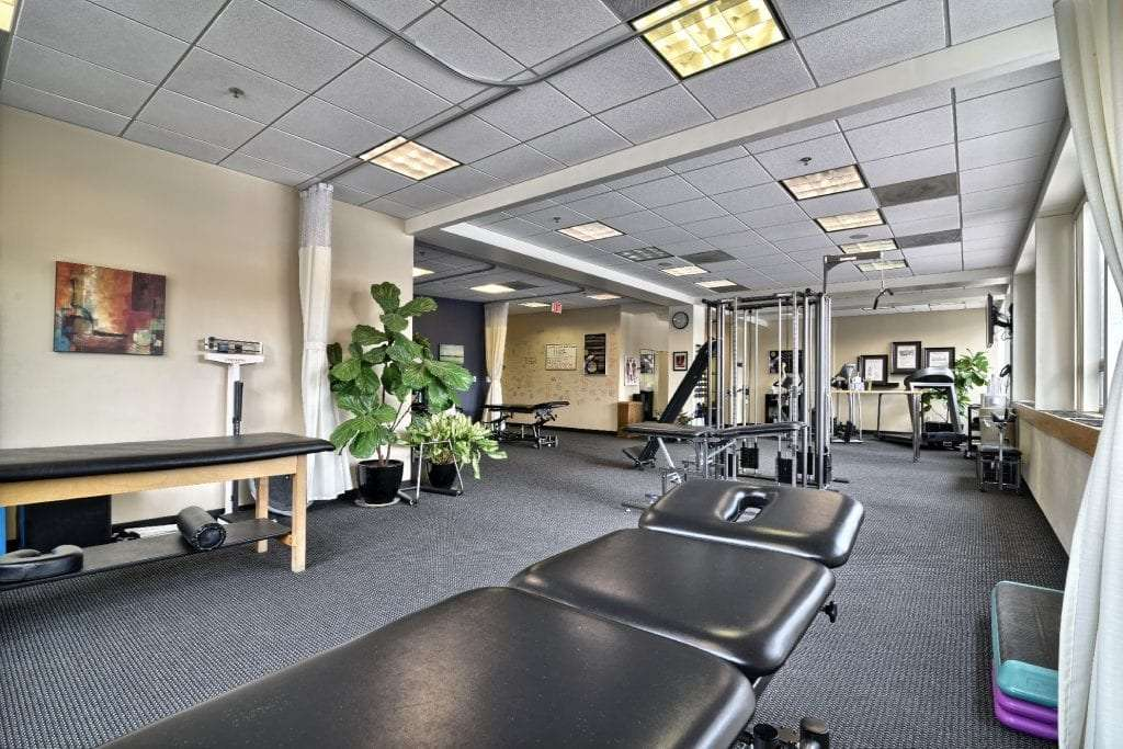 An image of the interior of our physical therapy clinic, showing the various equipment used in Boston, Massachusetts.