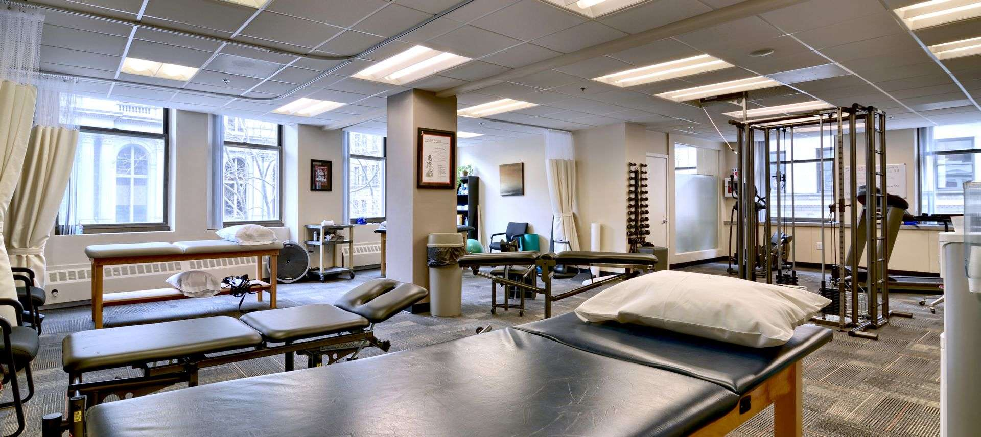 Interior of our physical therapy and sports medicine clinic in Boston, Massachusetts.