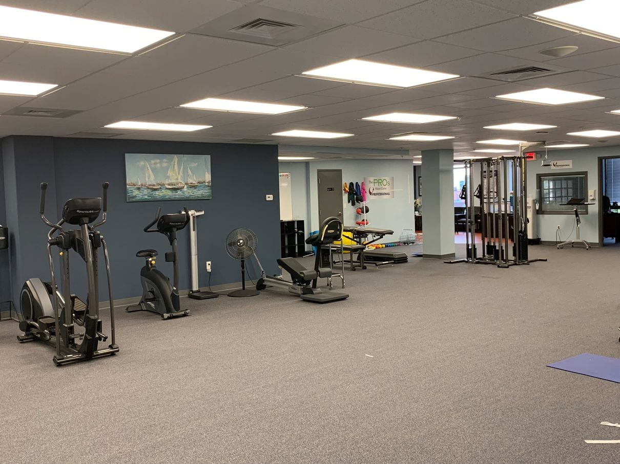 Exercise equipment at our Braintree, MA physical therapy clinic.