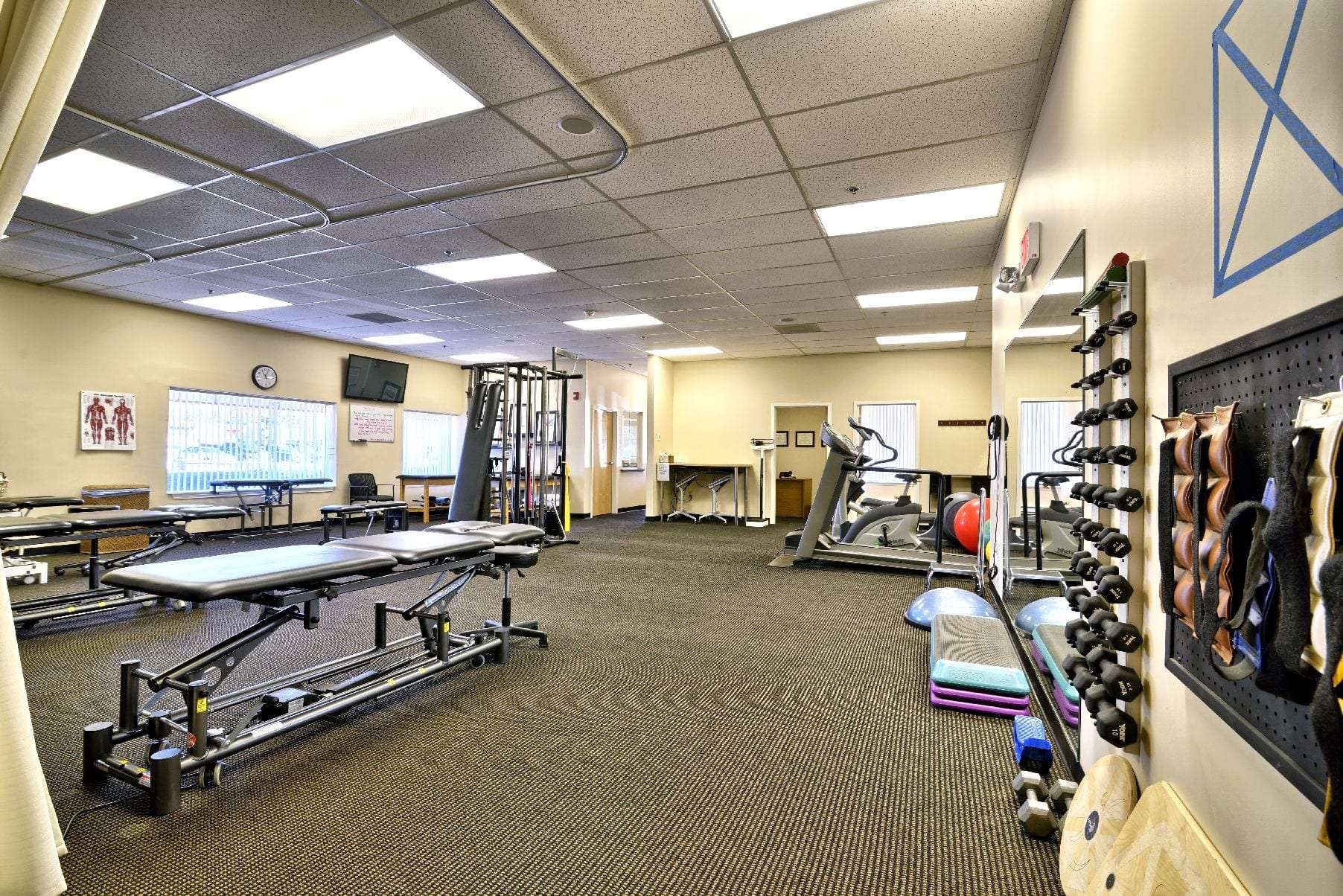 An image of the exercise equipment at our physical therapy clinic in Middleton, Massachusetts.