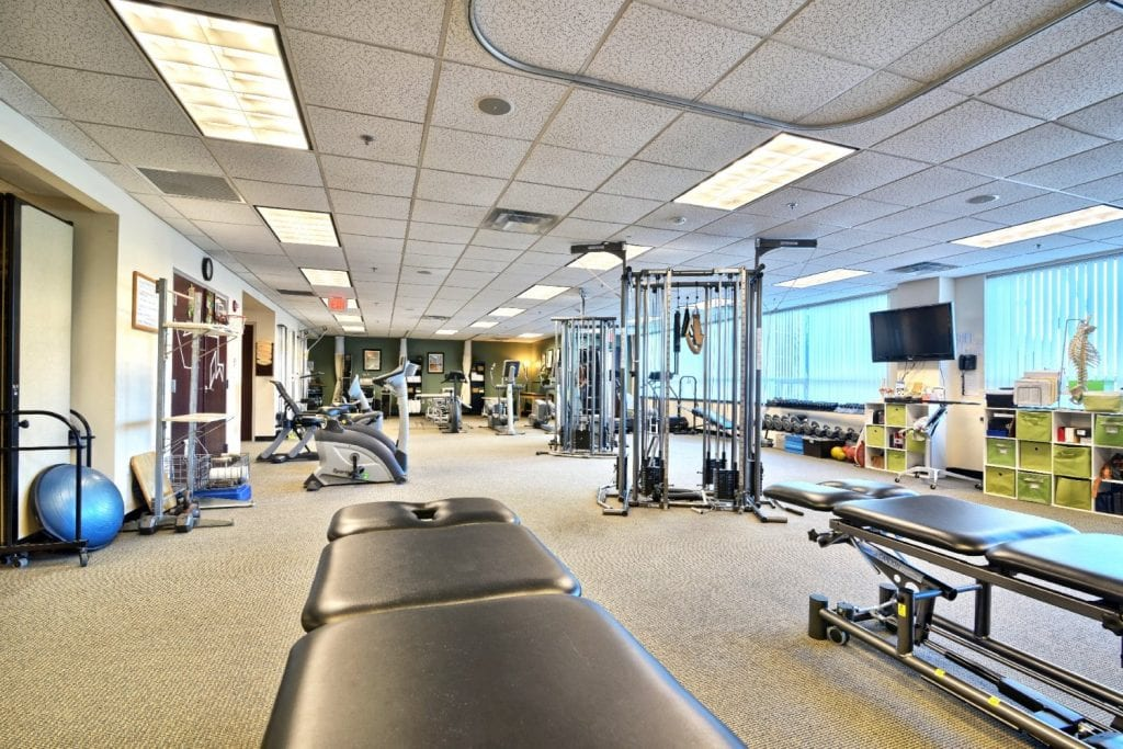 Here is a photo of the equipment at our physical therapy clinic in Woburn, Massachusetts.