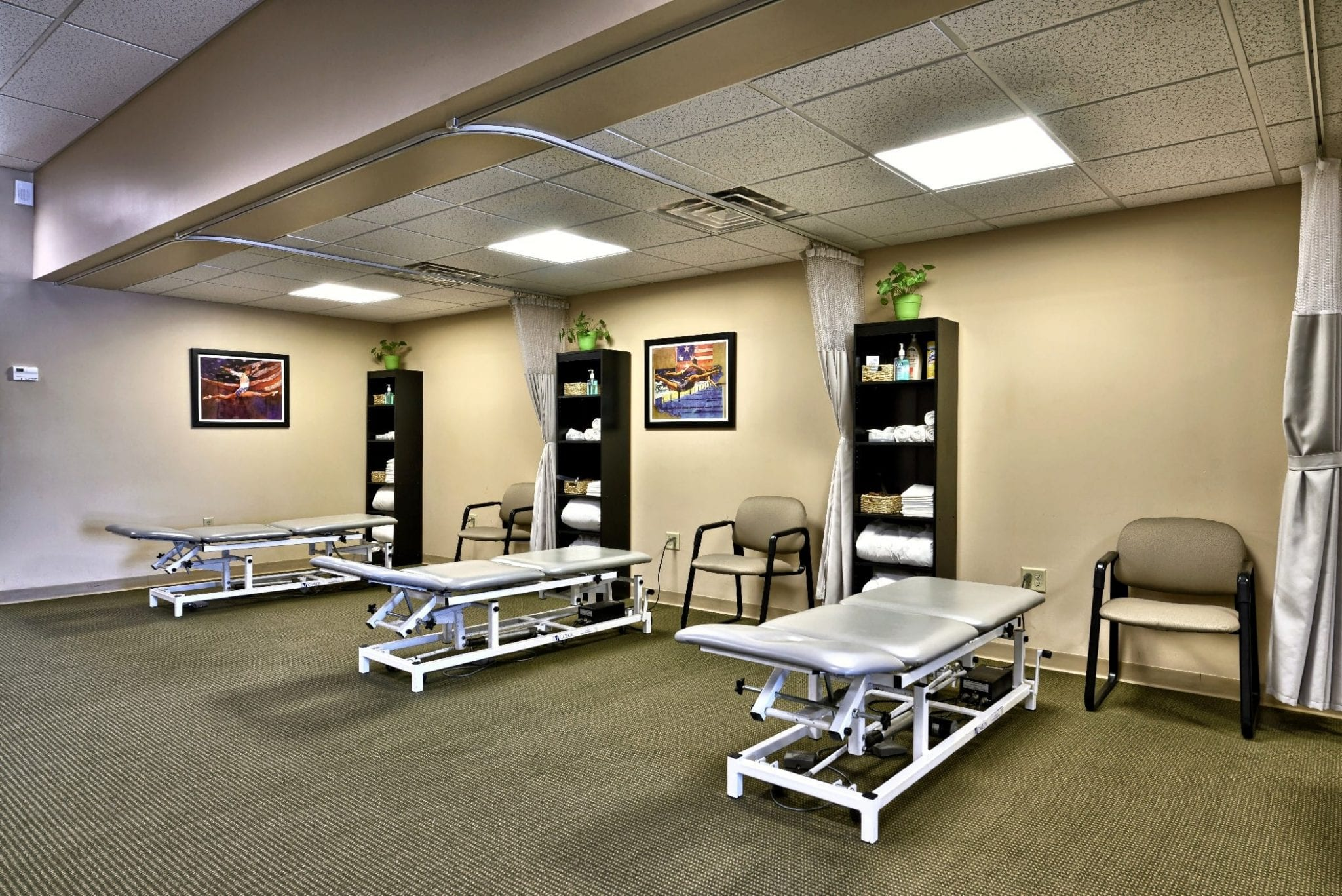 An image of three stretch beds at our physical therapy clinic in Epping, New Hampshire.