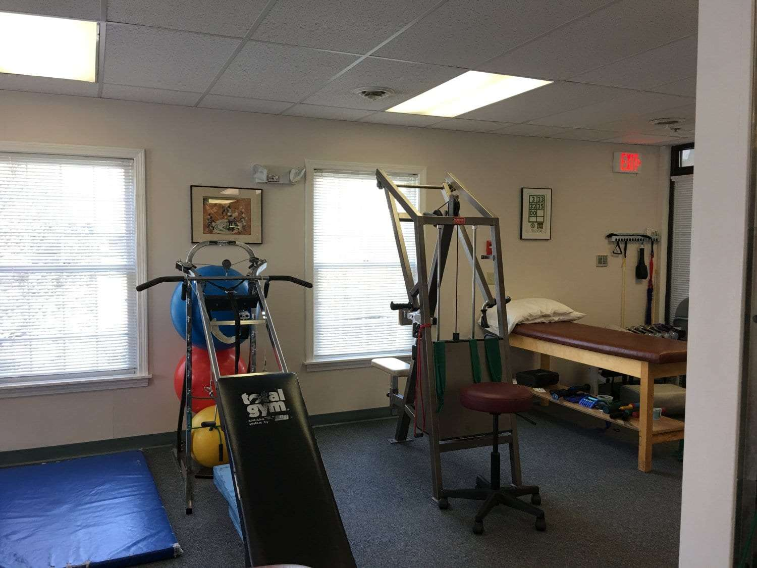 Here is a photo of clean equipment at our physical therapy clinic in Exeter, New Hampshire.