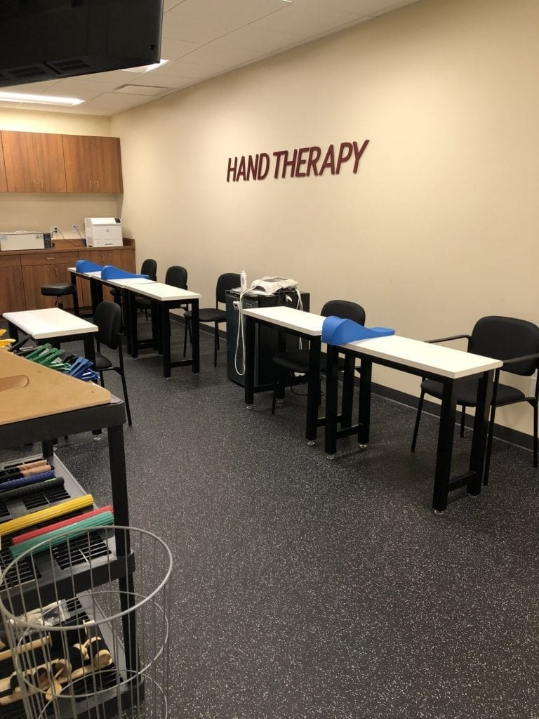 Here is an image of desks used for hand therapy at our physical therapy clinic in Bay Shore, New York.