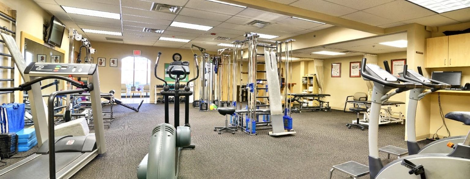 Wide angle view of entire physical therapy clinic inside in Springfield, MA.