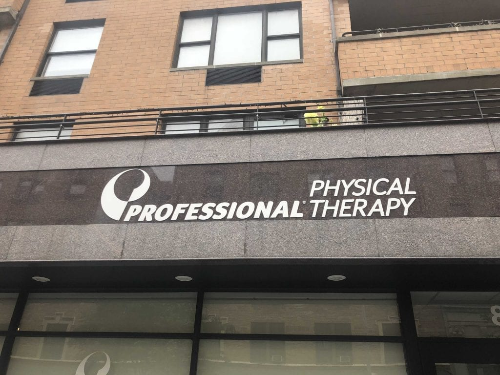 An image of the sign above our entrance to our physical therapy clinic in lower Manhattan, New York City, at East Village.