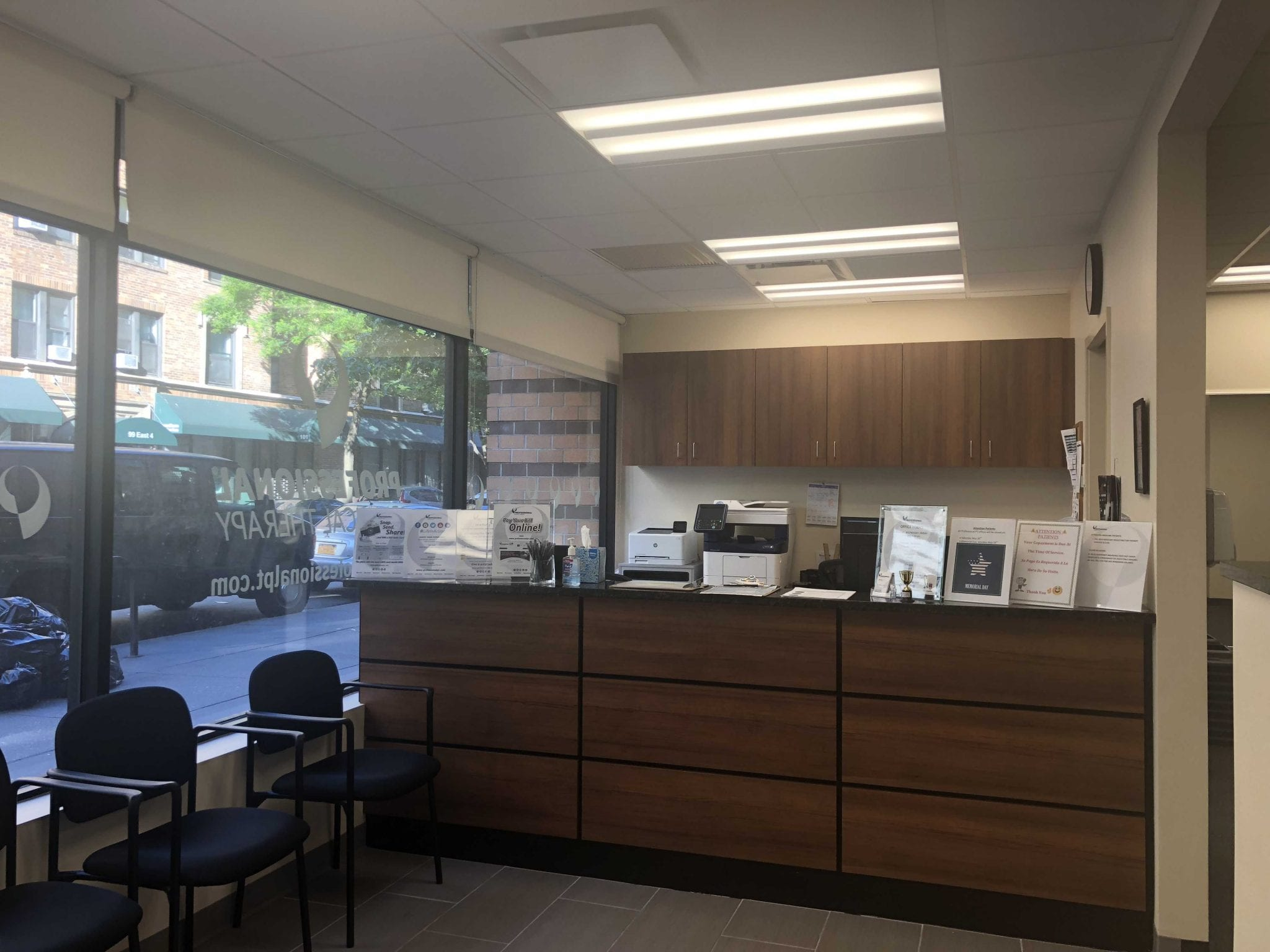 An image of the front desk at our physical therapy clinic in lower Manhattan, New York City, at East Village.