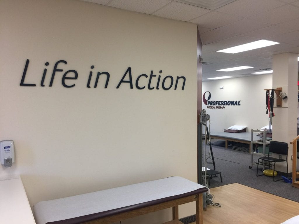 Here is an image of the words Life in Action on our wall at our physical therapy clinic. The facility is located in South Plainfield, New Jersey.