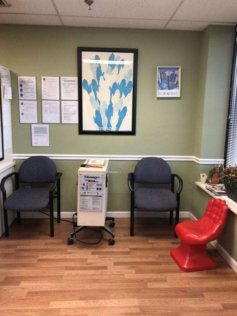 An image of the waiting area at our hand physical therapy clinic in Merrick, New York.