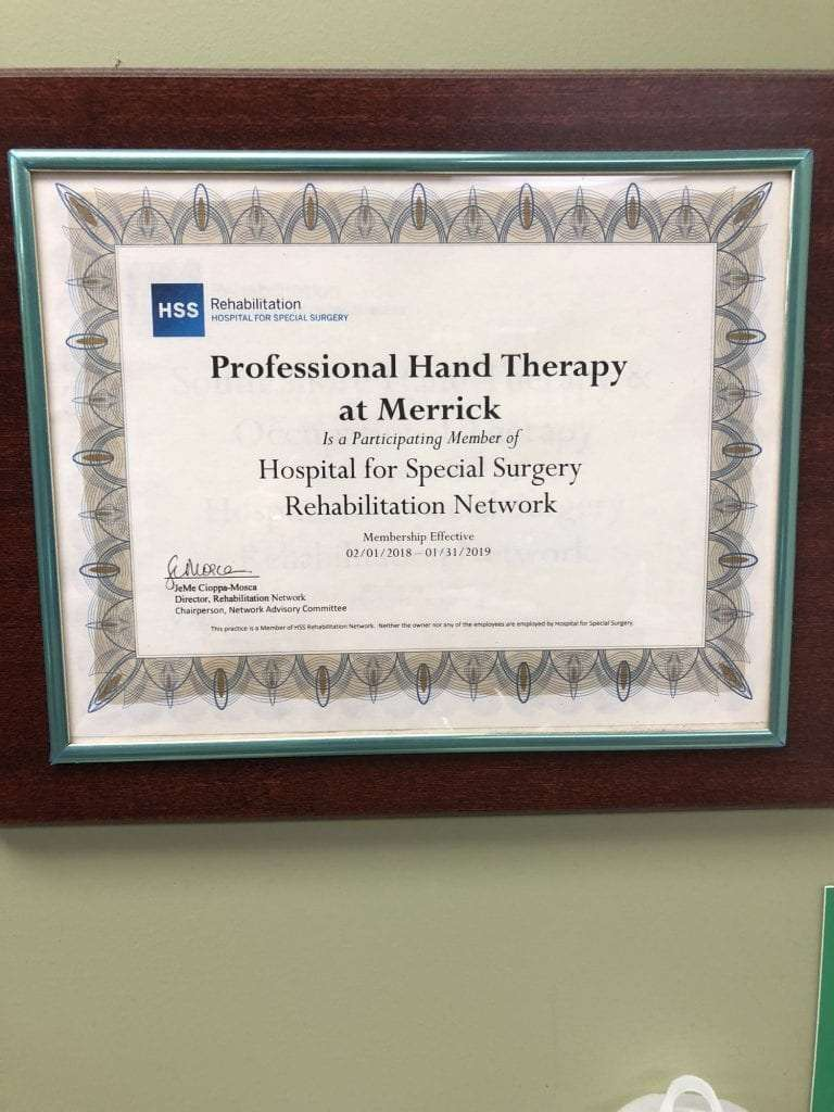 An image of our participation certificate in the Hospital for Special Surgery Rehabilitation Network at our hand physical therapy clinic in Merrick, New York.
