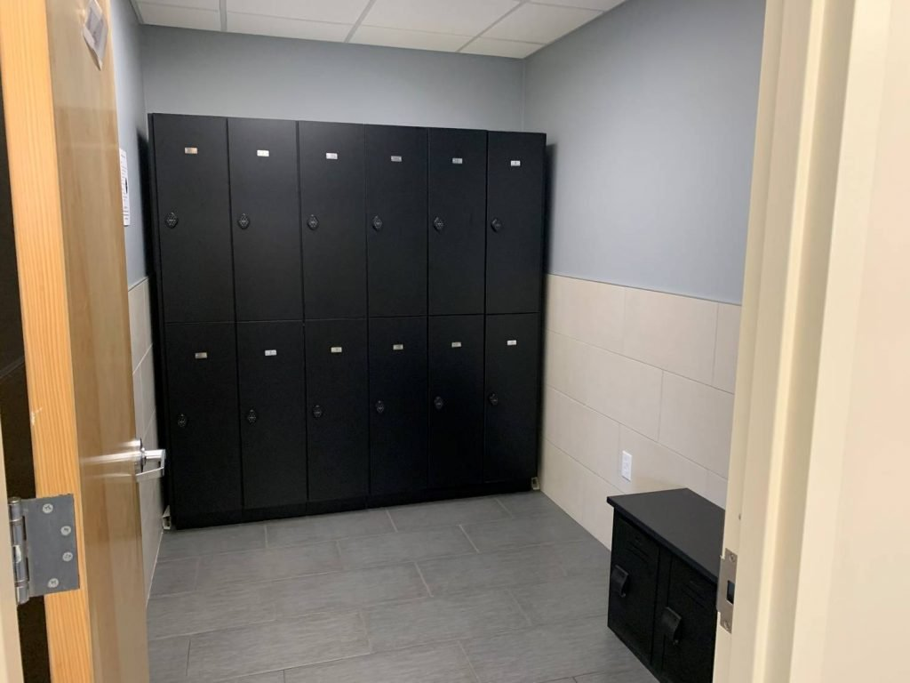 Here is an image of the locker rooms at our physical therapy clinic in Westfield, New Jersey.