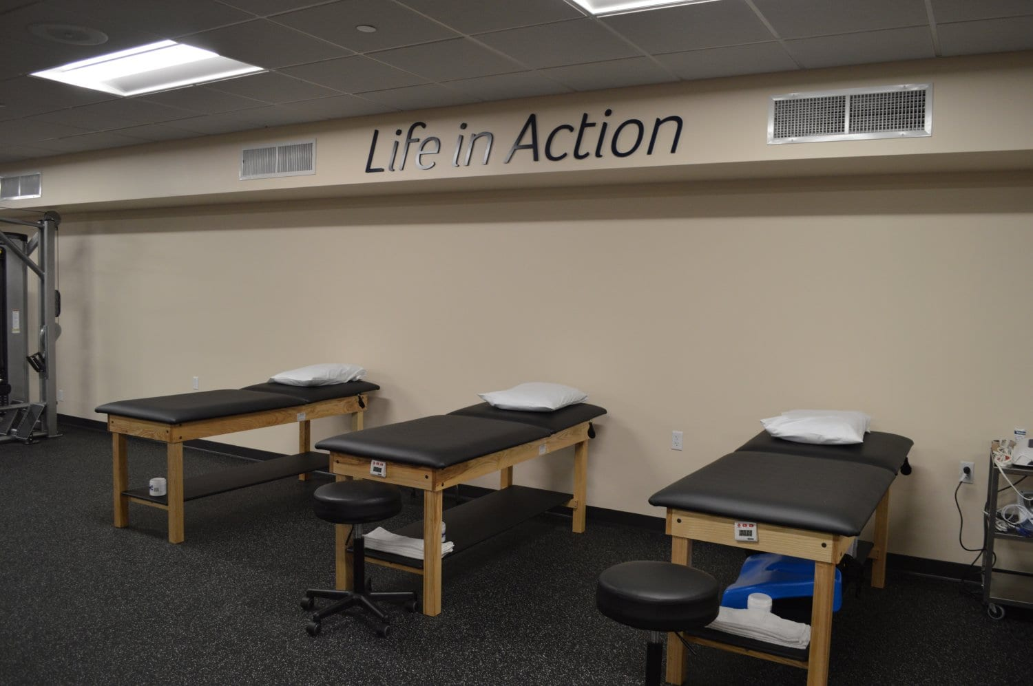 This is a photo of three stretch beds that are great for increasing flexibility at our physical therapy clinic in New Rochelle, New York.
