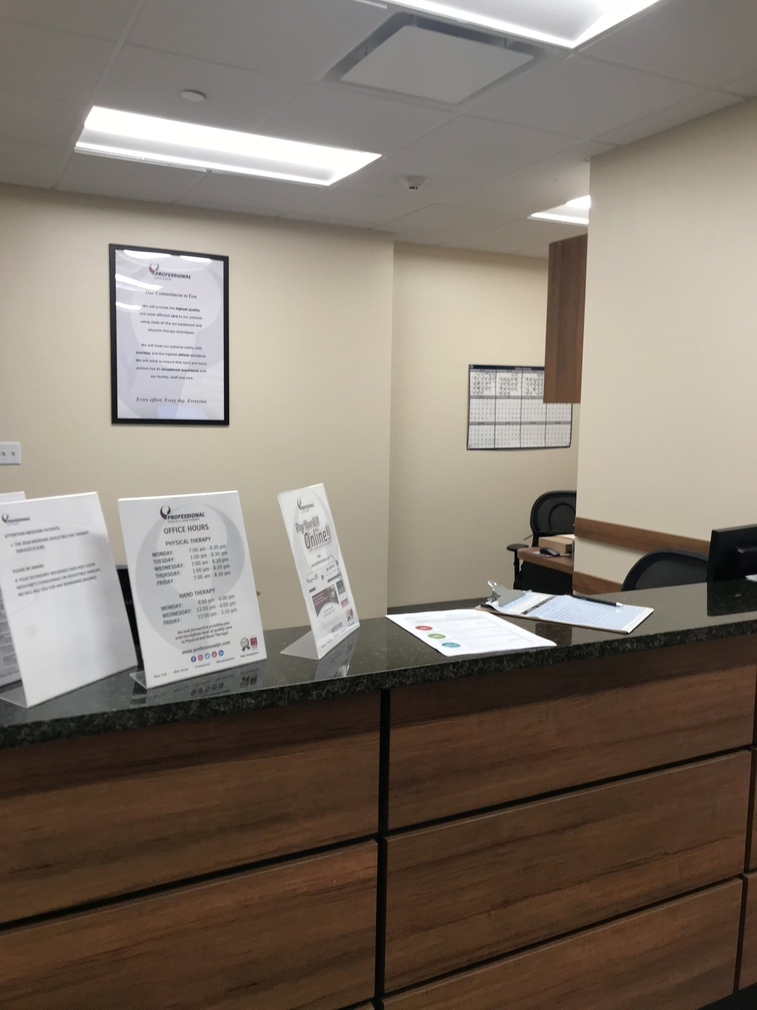 Here is a view of the receiptionist desk at our physical therapy clinic in New Rochelle, New York.