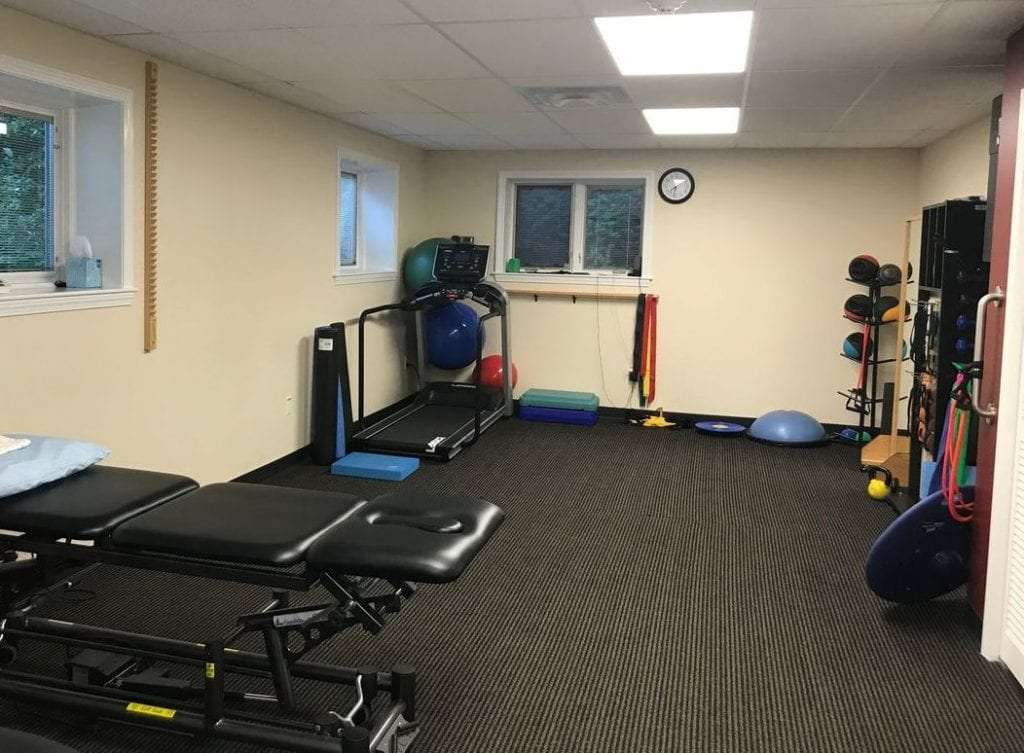 Main room of our Fitchburg, MA physical therapy and sports medicine clinic.