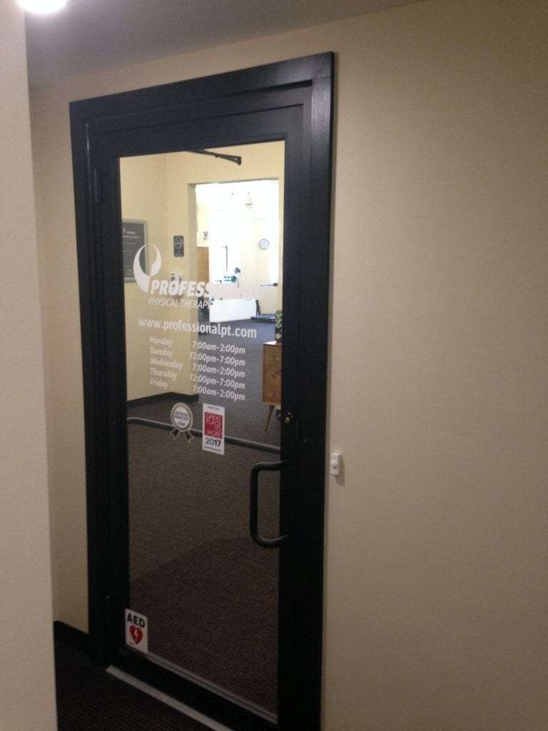 This is an image of the door to our physical therapy clinic in Watertown, Massachusetts.