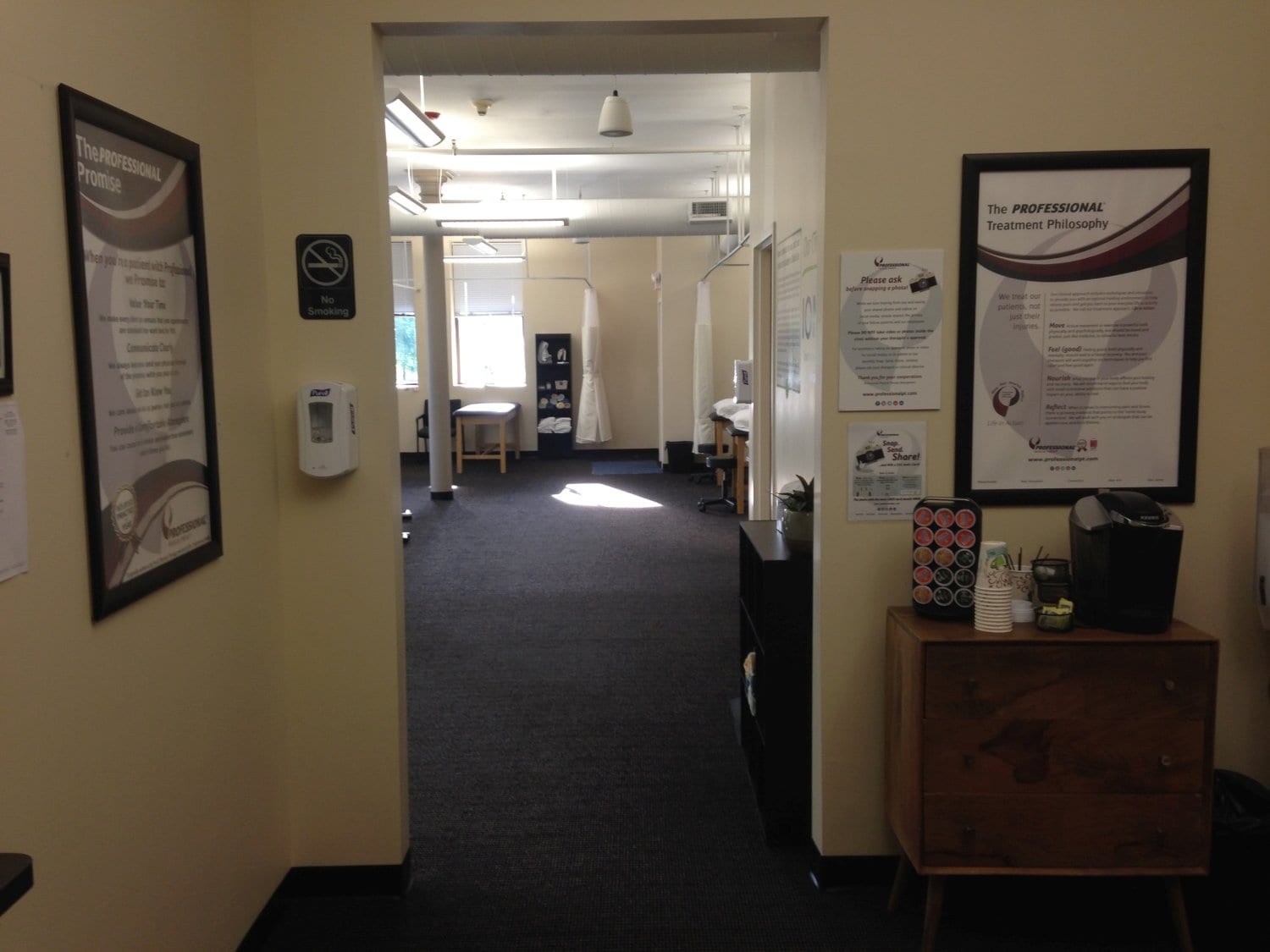 This is an image looking through a doorway into the interior of our physical therapy clinic in Watertown, Massachusetts.