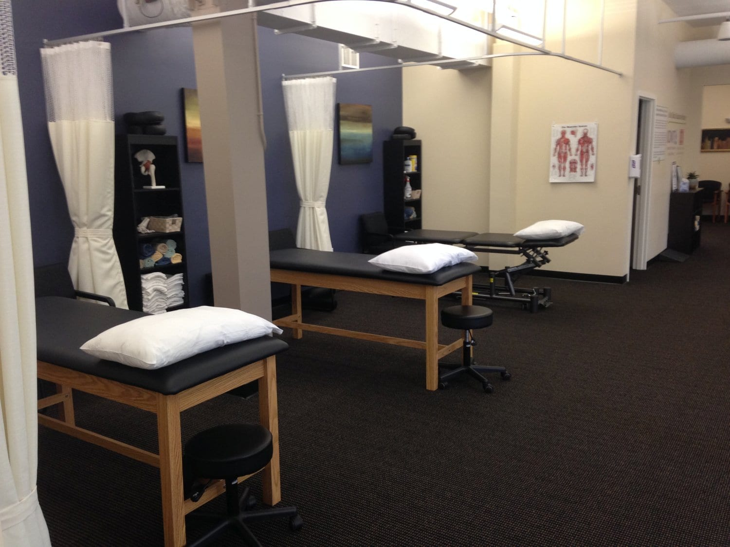 Here is a shot of the clean beds at our physical therapy clinic in Watertown, Massachusetts.