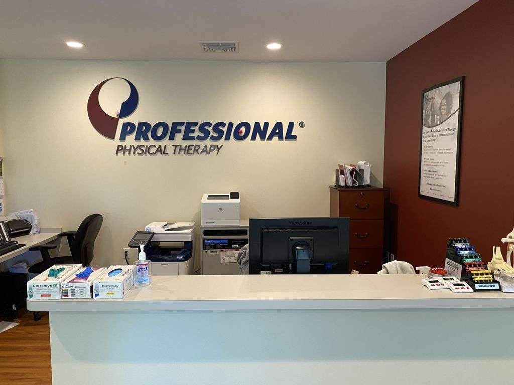Patient reception area and sanitization items at our physical therapy clinic in Montville, NJ.