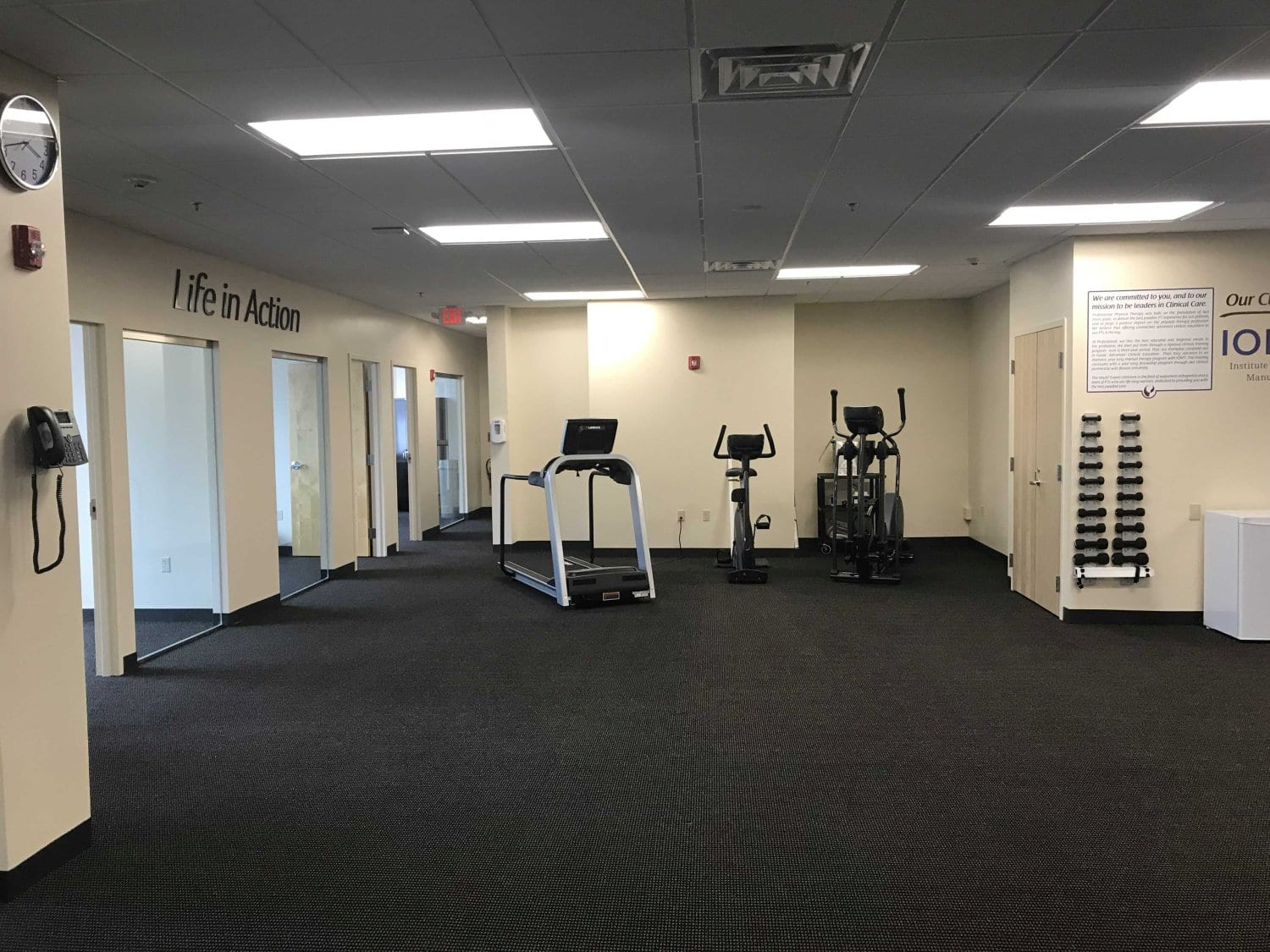 An image of the training room at our physical therapy clinic in Newton, Massachusetts.