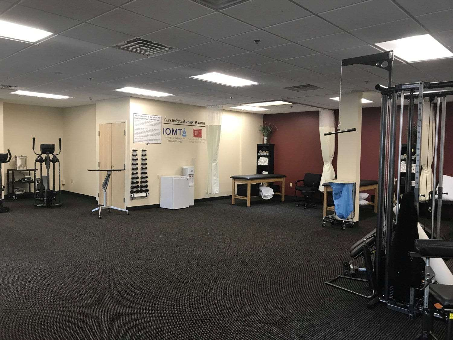 A photo of the training room at our physical therapy clinic in Newton, Massachusetts.