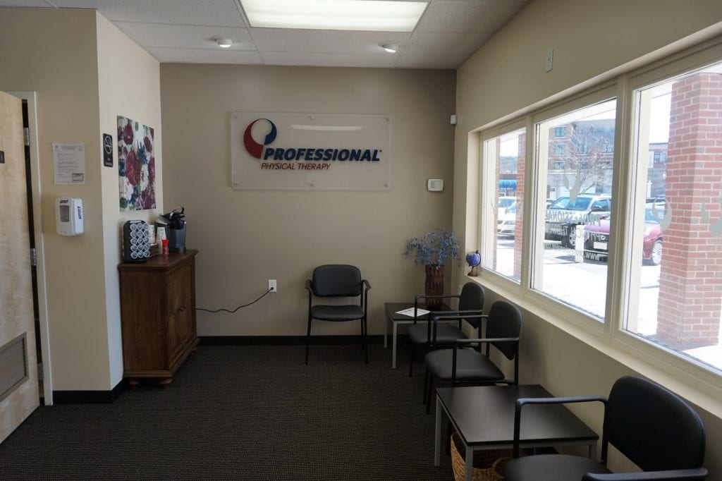 This is the patient wating room at our physical therapy clinic in Winchester Massachusetts.