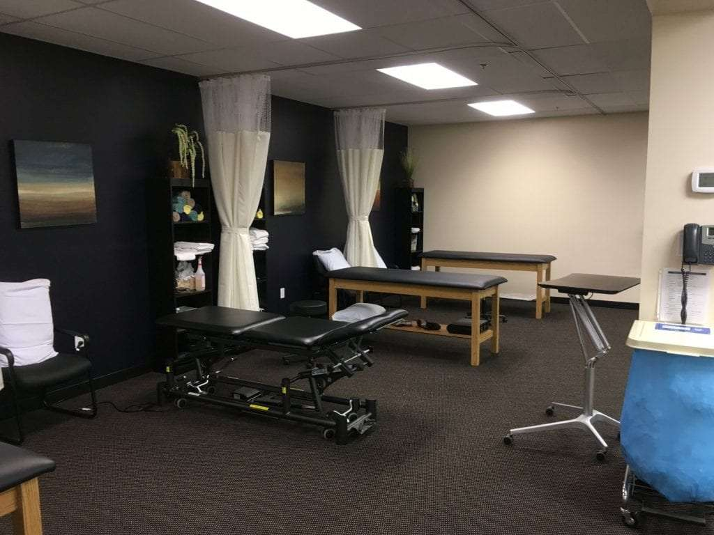 This interior shot shows bed in our physical therapy clinic in Winchester Massachusetts.