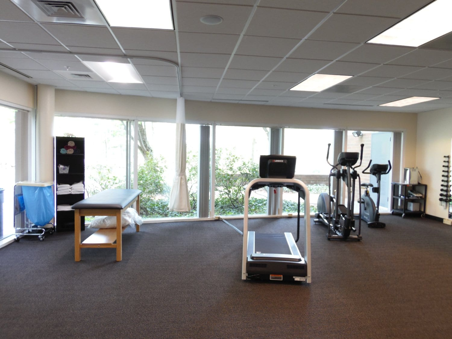 This is an image of the training area with physical therapy equipment at our clinic in Andover, Massachusetts.